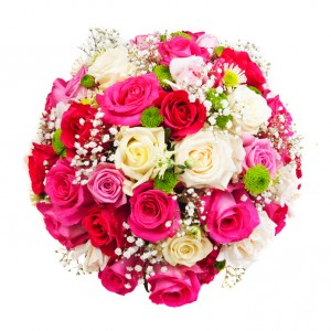 Beautiful ornamental wreath in the shape of sphere made of natural multicolored roses isolated on white
